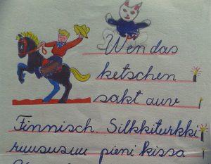 Text in Kinderschrift - schreiben in der neuen Heimat