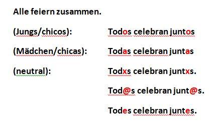 Beispiel gendern auf Spanisch