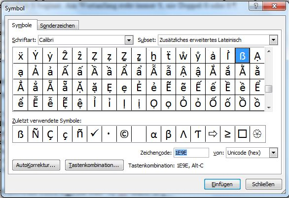 ß Großbuchstabe Screenshot