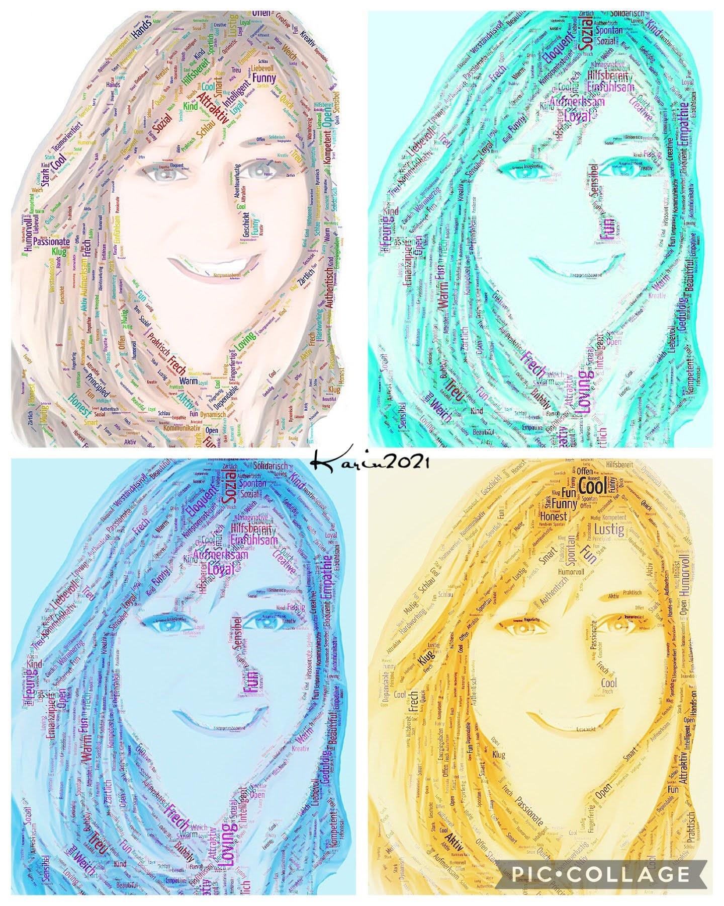 4 Popartportraits mit gendermarkierten Eigenschaften
