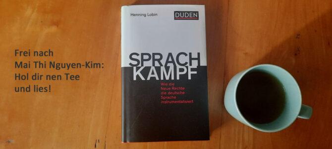 Buchtitel Sprachkampf von Henning Lobin mit Tee