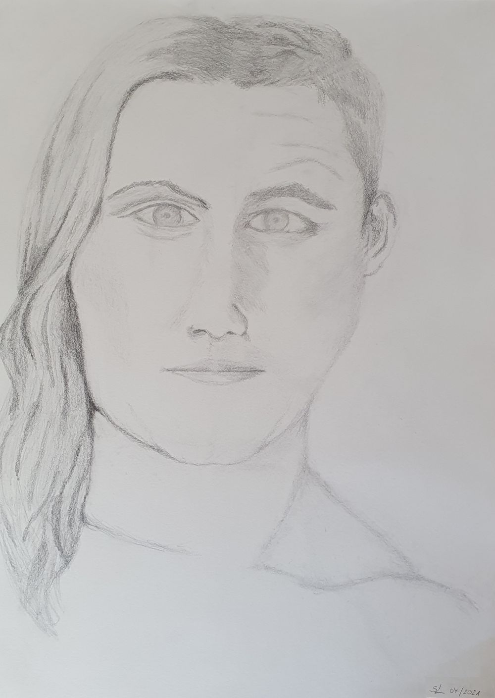 Bleistiftzeichnung-HalbMannHalbFrau
