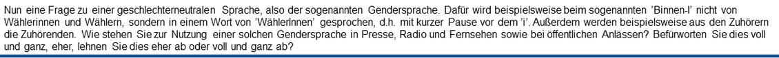 Fragestellung der WamS zum Thema Gendersprache